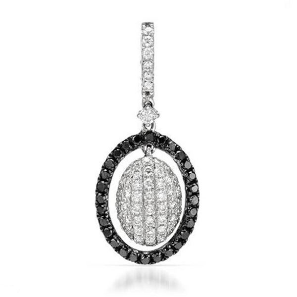 18k White Gold 0.51CTW Diamond and Black Diamonds Pendant, (SI1-SI2/G-H)