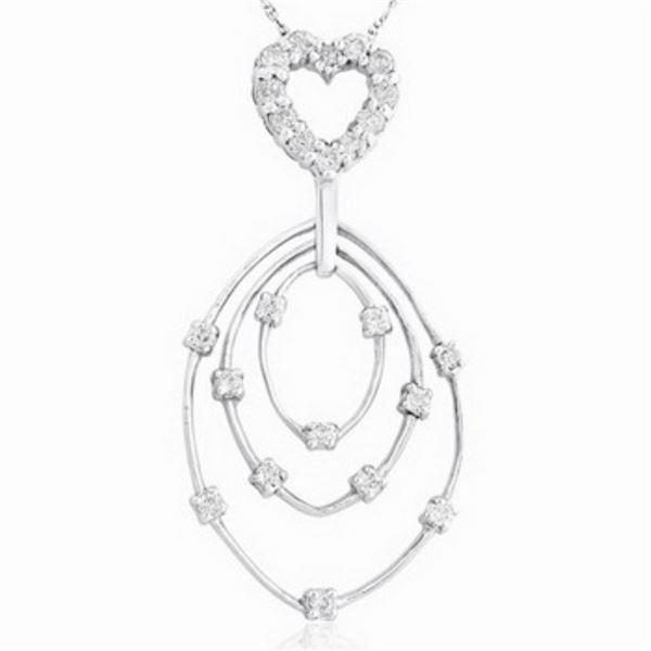 18k White Gold 0.51CTW Diamond Pendant, (H-I)