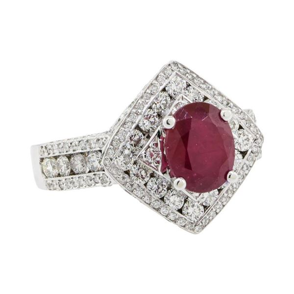6.56 ctw Ruby and Diamond Ring - 14KT White Gold