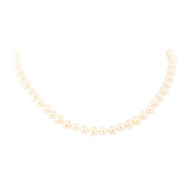 0.12 ctw Diamond and Freshwater Pearl Necklace - 14KT White Gold