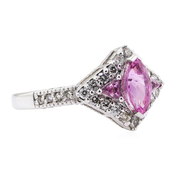1.48 ctw Marquise Brilliant Pink Sapphire And Triangle Shape Straight-Side Step