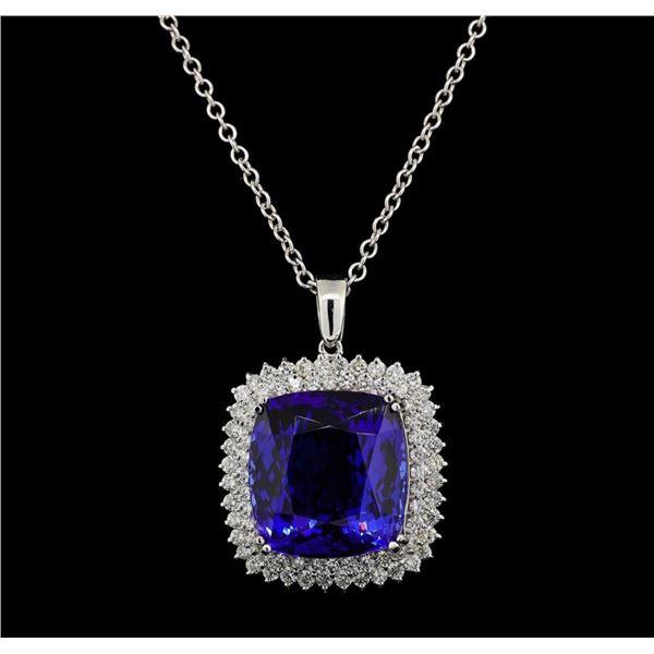 GIA Cert 40.78 ctw Tanzanite and Diamond Pendant With Chain - 14KT White Gold