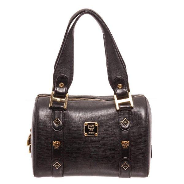 MCM Black Leather Boston Tote Bag