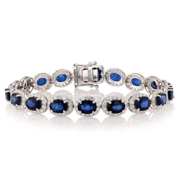 18.13 ctw Blue Sapphire and 3.92 ctw Diamond 14K White Gold Bracelet