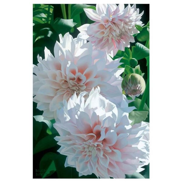 """Brian Davis, """"Three Pink Dahlias"""" Limited Edition Giclee on Canvas, Numbered and"""