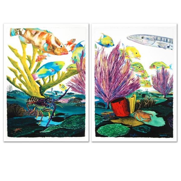 """""""Coral Reef Life"""" Limited Edition Giclee Diptych on Canvas by Renowned Artist Wy"""