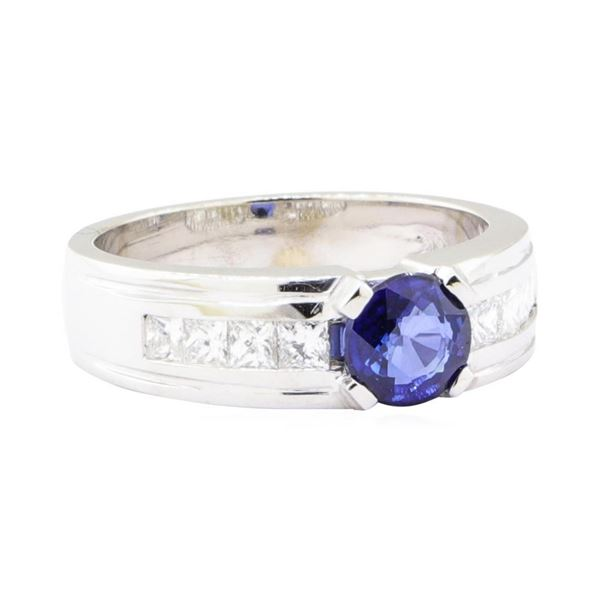 1.79 ctw Sapphire and Diamond Ring - 14KT White Gold