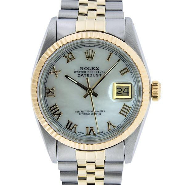 Rolex Mens 2T Mother Of Pearl Roman Datejust Oyster Perpetual Wristwatch 36MM