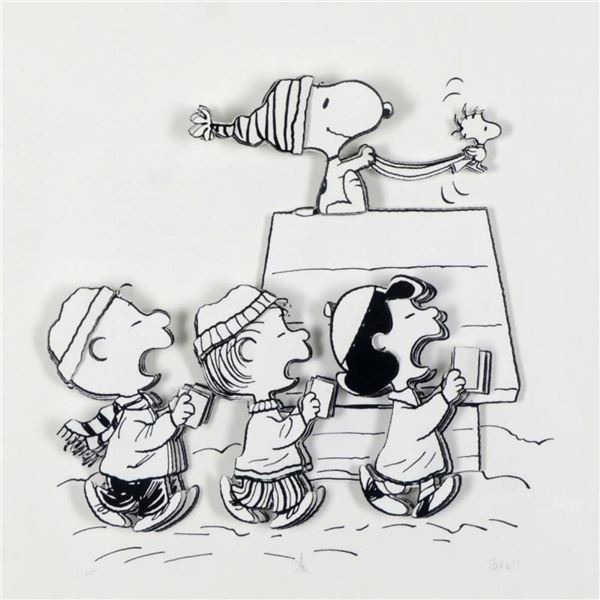 """Peanuts, """"Caroling Crew"""" Hand Numbered Limited Edition 3D Decoupage with Certifi"""