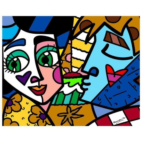 """Romero Britto """"Please Sweetheart"""" Hand Signed Limited Edition Giclee on Canvas;"""