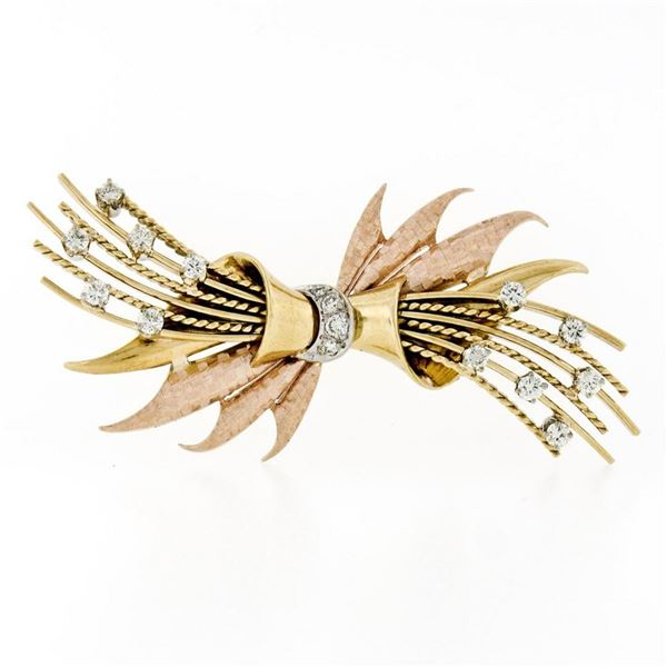 Jabel Vintage 18K Gold .90 ctw Diamond Textured Multi-Wire Spray Bow Brooch Pin