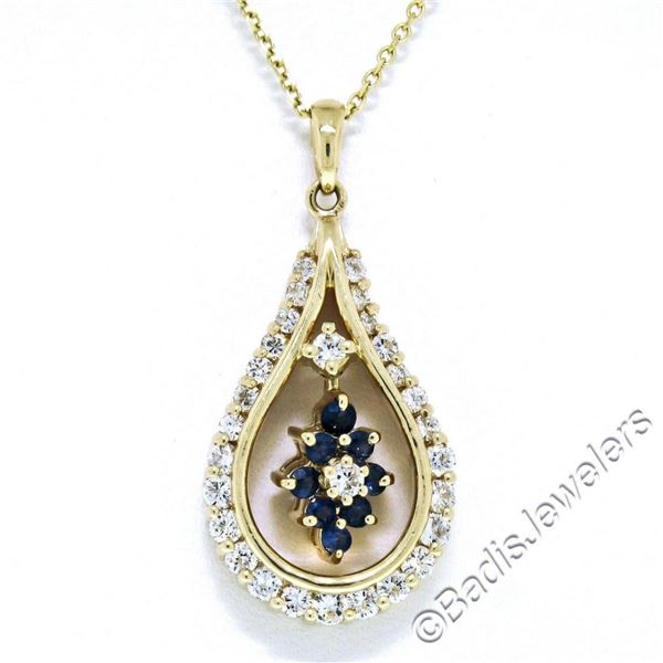 14kt Yellow Gold 1.22 ctw Diamond and Sapphire Tear Drop Dangle Pendant Necklace