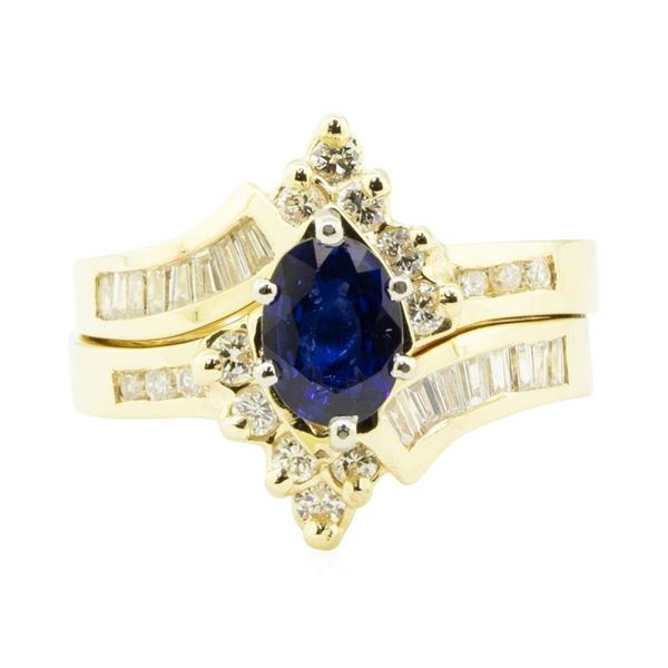 1.53 ctw Oval Brilliant Blue Sapphire And Diamond Ring & Wedding Band - 14KT Yel