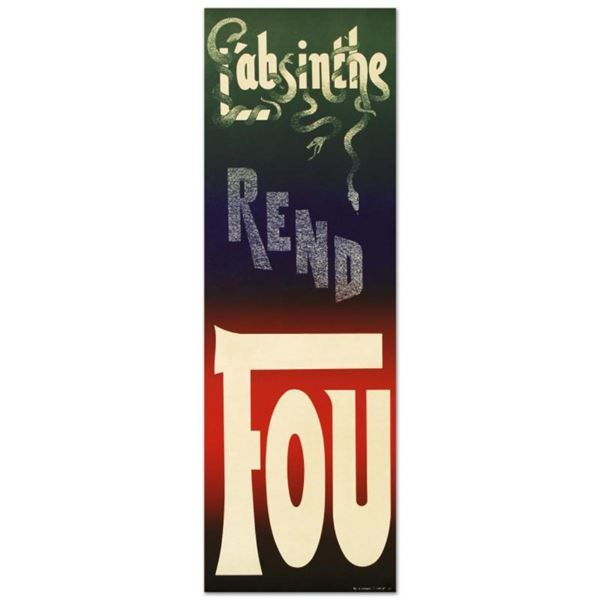 """RE Society, """"L'Absinthe Rend Fou"""" Hand Pulled Lithograph (14"""" x 43"""") with Certif"""