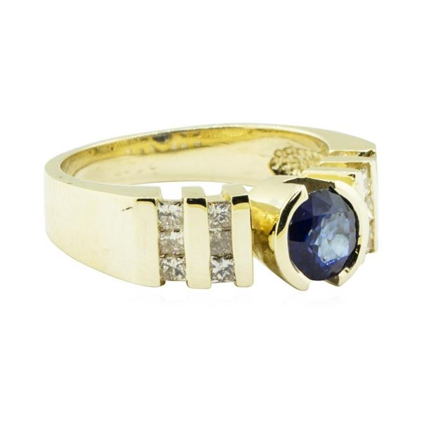 1.45 ctw Blue Sapphire and Diamond Ring - 14KT Yellow Gold