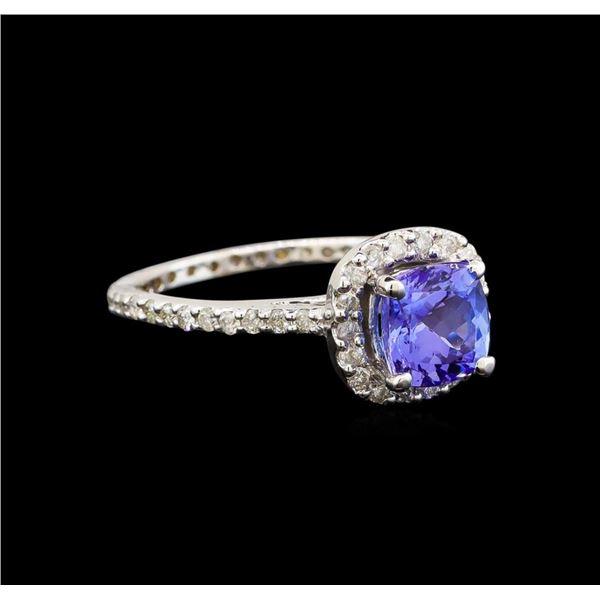 14KT White Gold 1.11 ctw Tanzanite and Diamond Ring