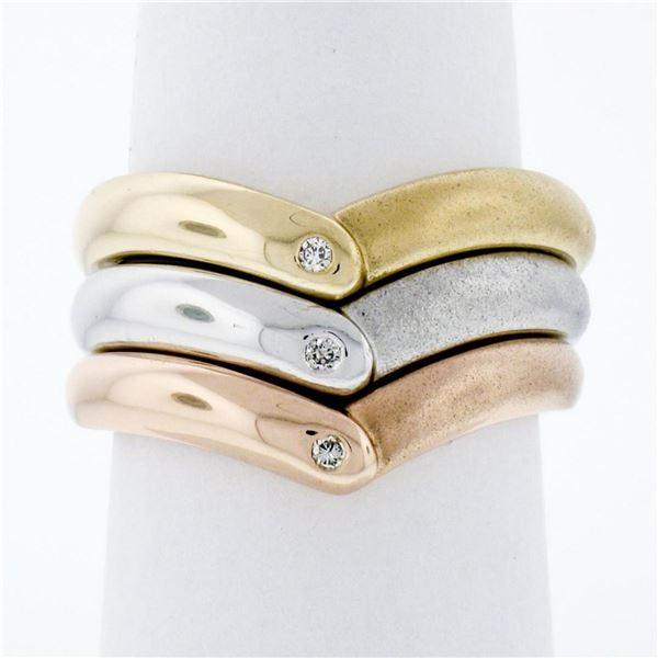 14K Tri Color Gold Burnish Diamond Polished & Sandblast 3 Stackable V Band Rings