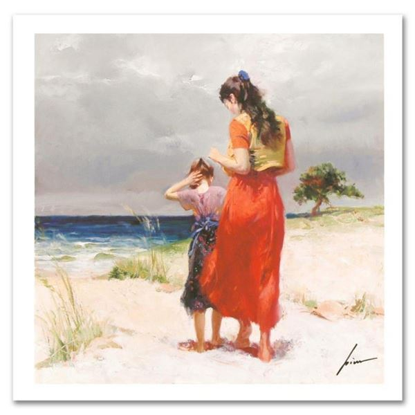 """Pino (1931-2010), """"Beach Walk"""" Limited Edition on Canvas, Numbered and Hand Sign"""