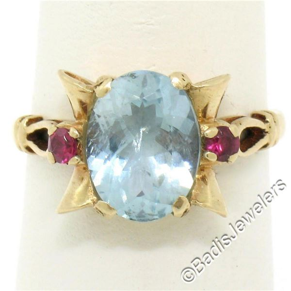 Retro 14kt Yellow Gold 2.18 ctw Aquamarine Solitaire and Synthetic Ruby Ring