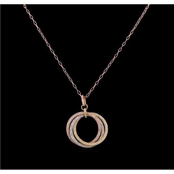 14KT Three-Tone Gold 1.53 ctw Diamond Pendant With Chain