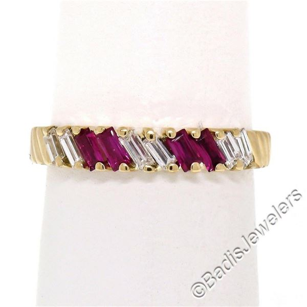 Vintage 18kt Yellow Gold 0.75 ctw Baguette Diamond and Ruby Band Ring