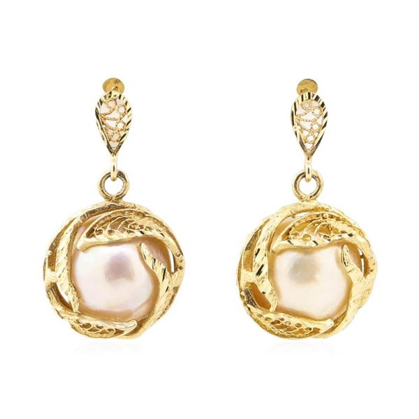 Mabe Pearl Dangle Earrings - 14KT Yellow Gold
