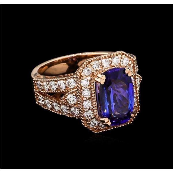 3.46 ctw Tanzanite and Diamond Ring - 14KT Rose Gold
