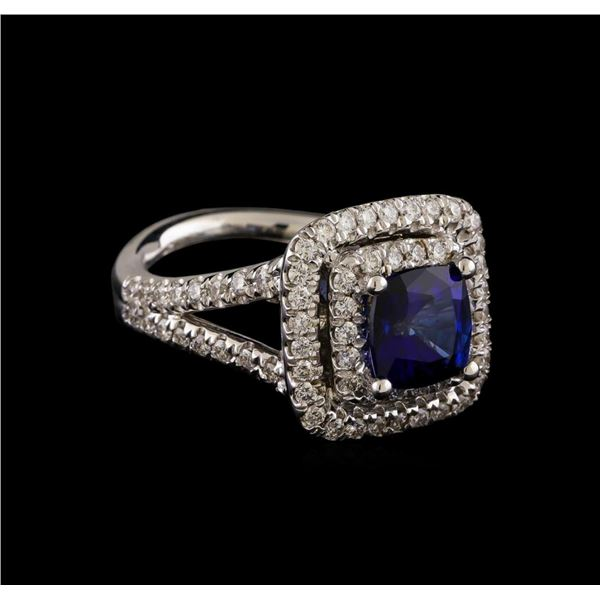 14KT White Gold 2.72 ctw Sapphire and Diamond Ring