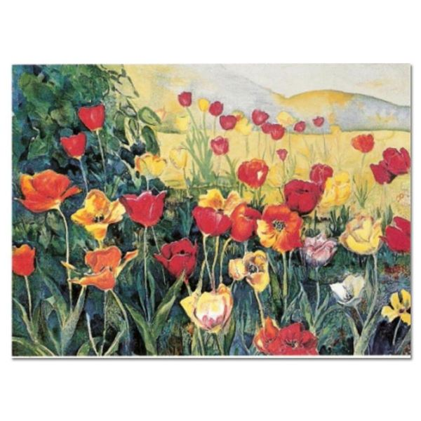 """Perla Fox, """"Tulips"""" Hand Signed Limited Edition Serigraph with Letter of Authent"""