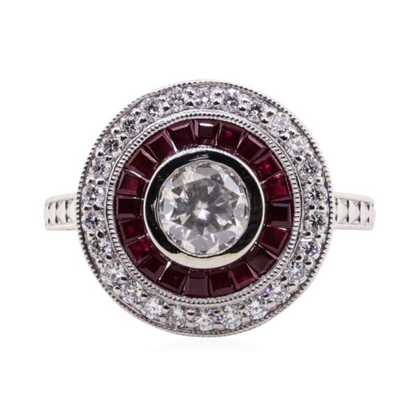 1.19 ctw Ruby and Diamond Ring - Platinum