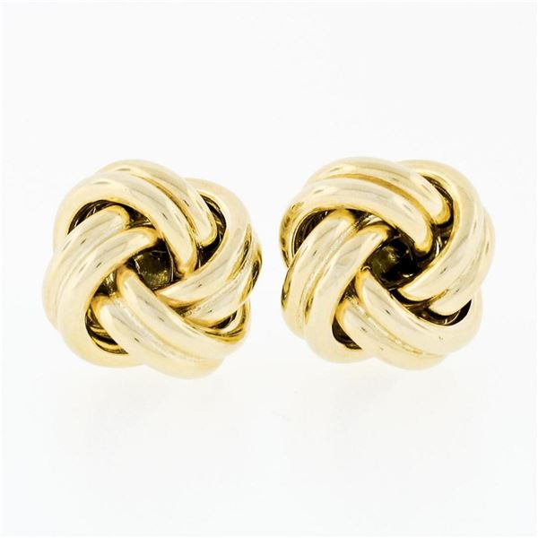 Italian 14K Yellow Gold Ribbed High Polished Dual Tube Love Knot Stud Earrings