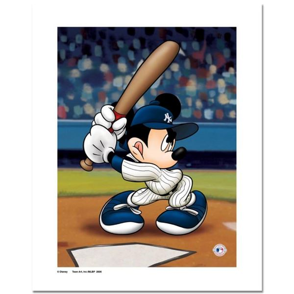 """""""Mickey at the Plate (Yankees)"""" Numbered Limited Edition Giclee licensed by Disn"""