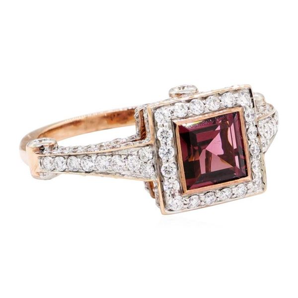 2.56 ctw Square Step Rhodolite Garnet And Round Brilliant Cut Diamond Ring - 18K