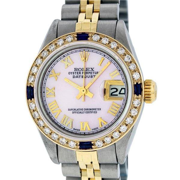 Rolex Ladies 2 Tone Pink Mother Of Pearl Roman & Sapphire Datejust Wristwatch 26