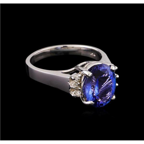 3.66 ctw Tanzanite and Diamond Ring - 14KT White Gold