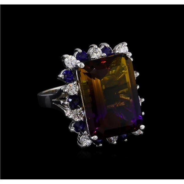 15.97 ctw Ametrine, Sapphire and Diamond Ring - 14KT White Gold