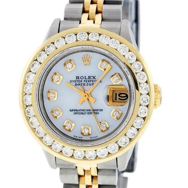 Rolex Ladies 2T MOP 2 ctw Diamond Datejust Wristwatch With Wooden Watch Winder