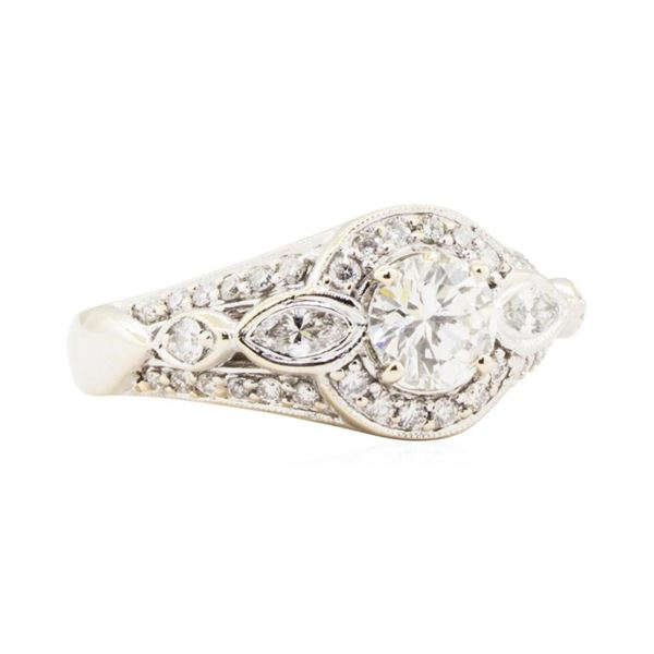 1.32 ctw Round Brilliant Cut Diamond And Marquise Shaped Cut Diamond Wedding Rin