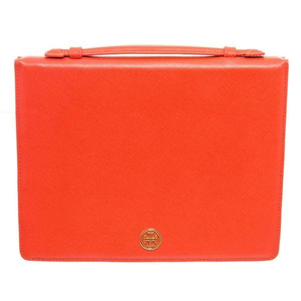Tory Burch Orange Leather Robinson Flip Tablet Case