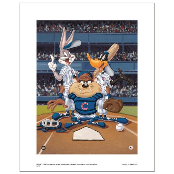 """""""At the Plate (Cubs)"""" Numbered Limited Edition Giclee from Warner Bros. with Cer"""