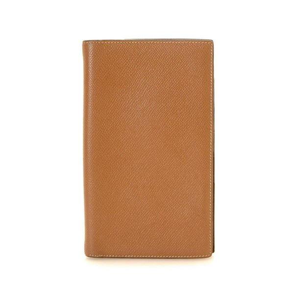 Hermes Camel Leather Flip Wallet