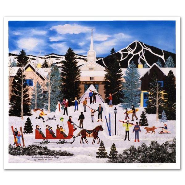 "Jane Wooster Scott, ""Embracing Winter's Joys"" Hand Signed Limited Edition Lithog"