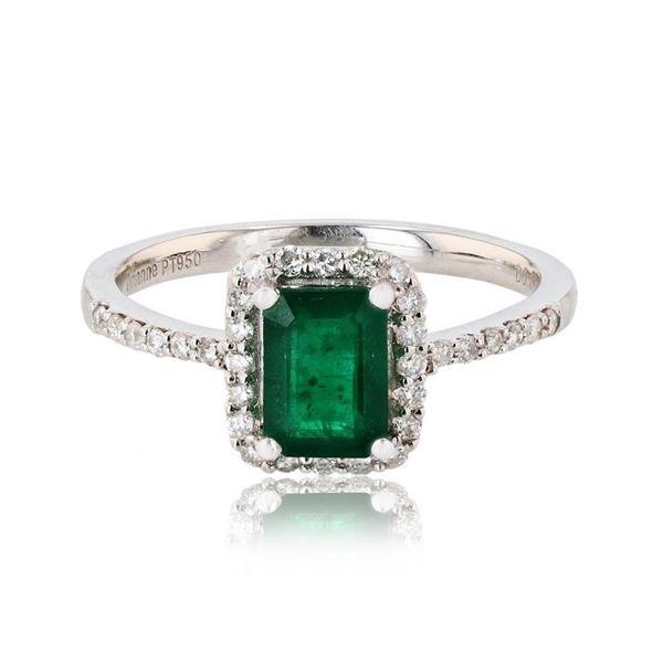 1.07 ctw Emerald and 0.26 ctw Diamond Platinum Ring