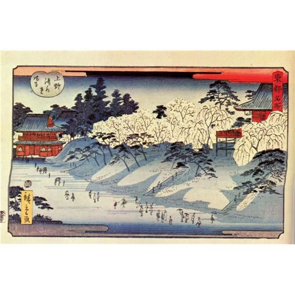 Hiroshige Going to Temple