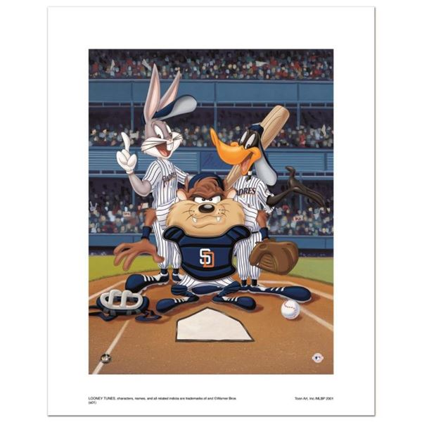 """""""At the Plate (Padres)"""" Numbered Limited Edition Giclee from Warner Bros. with C"""