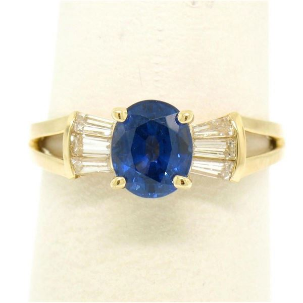 14k Yellow Gold ROYAL BLUE Sapphire Solitaire Ring Fine Baguette Diamond Accents