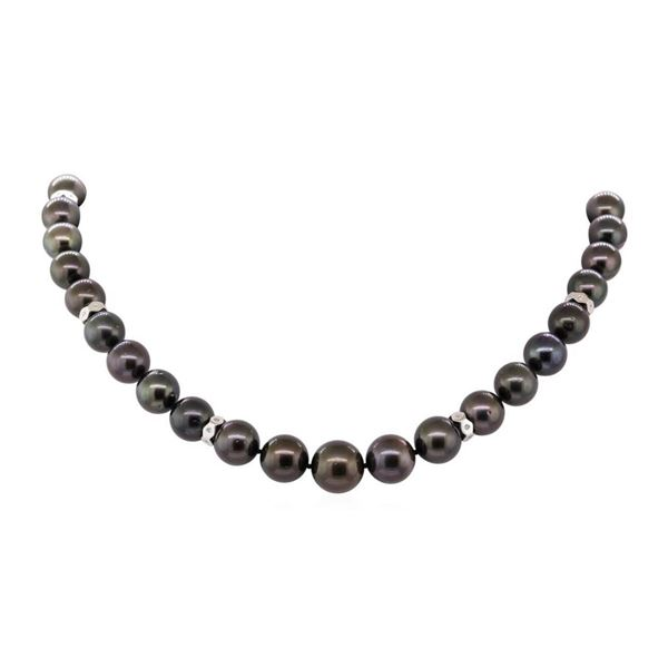 0.38 ctw Diamond and Tahitian Pearl Necklace