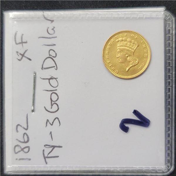 1862 $1 Gold Dollar Coin T-3 XF
