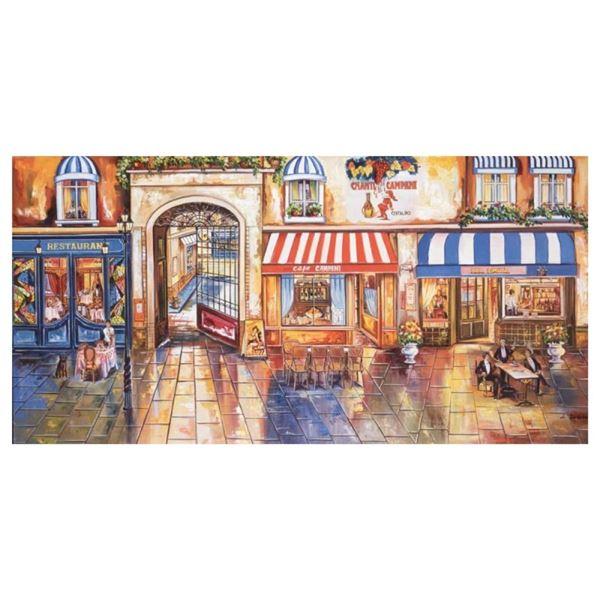 "Alexander Borewko, ""Street Restaurants"" Hand Signed Limited Edition Giclee on Ca"