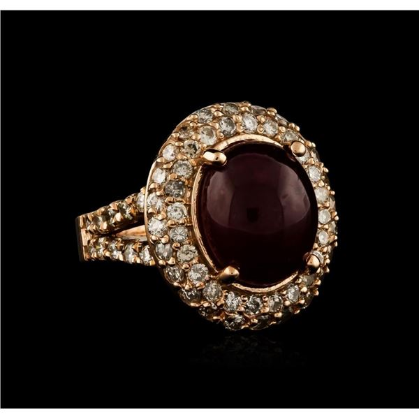 14KT Rose Gold 10.69 ctw Ruby and Diamond Ring